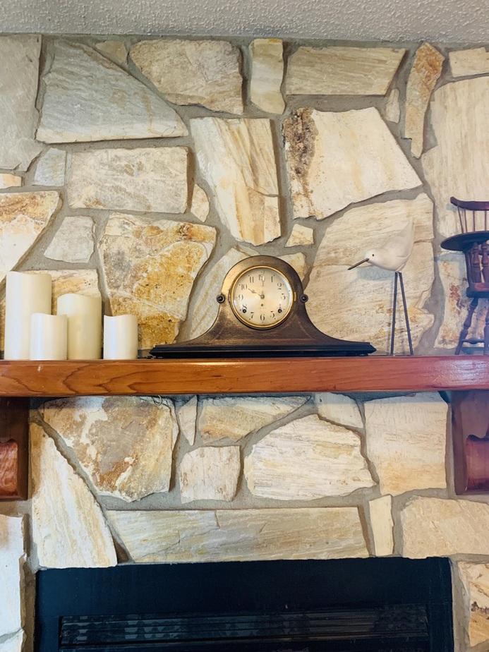 New stone facade above fireplace in Tallahassee