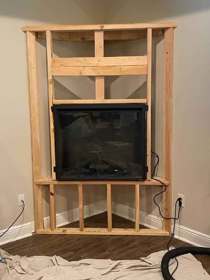 Fireplace being installed in a Beautiful Mobile