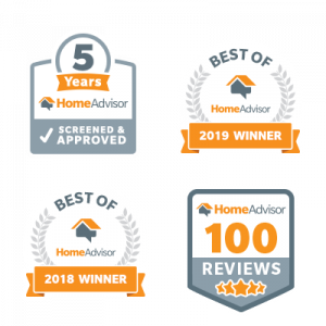 Our Home Advisor Awards, Best of Home Advisor 2018 and 2019, 100 5-star Reviews, 5 years screened and approved