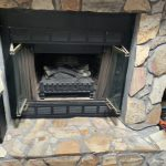 Stone brick prefab fireplace aft